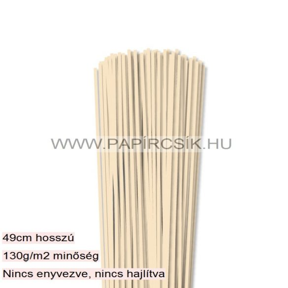 Krém, 3mm-es quilling papírcsík (120db, 49cm)