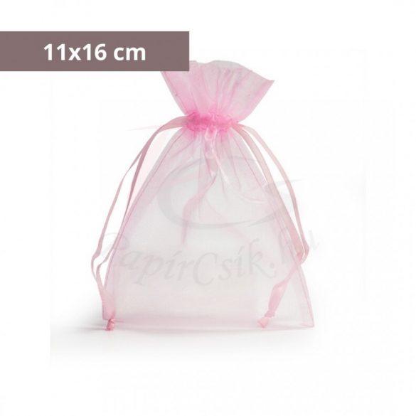 Organza tasak (11x16cm, rózsaszín)