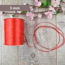 Szatén szalag (Piros, 3mm, 1 méter)