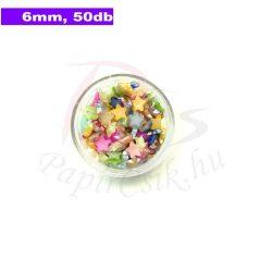Műanyag csillag alakú félgyöngy (vegyes szín, 6mm, 50db, tasakban)