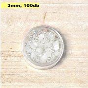 Műanyag félgömbgyöngy, fehér (3mm, 100db, tasakban)