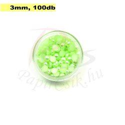 Műanyag félgömbgyöngy, halványzöld (3mm, 100db, tasakban)