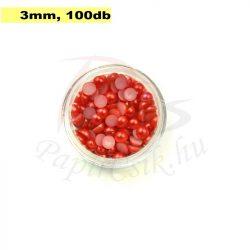 Műanyag félgömbgyöngy, piros (3mm, 100db, tasakban)