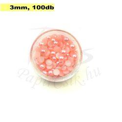 Műanyag félgömbgyöngy, rózsaszín (3mm, 100db, tasakban)