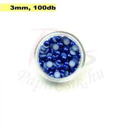 Műanyag félgömbgyöngy, sötétkék (3mm, 100db)