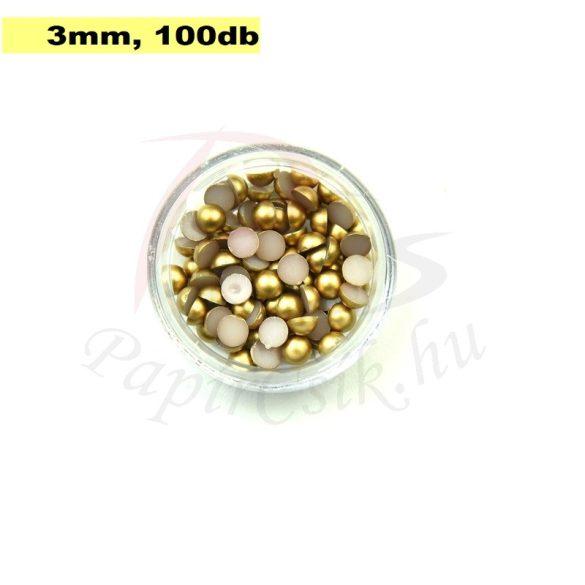 Műanyag félgömbgyöngy, arany (3mm, 100db, tasakban)