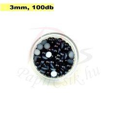 Műanyag félgömbgyöngy, fekete (3mm, 100db)