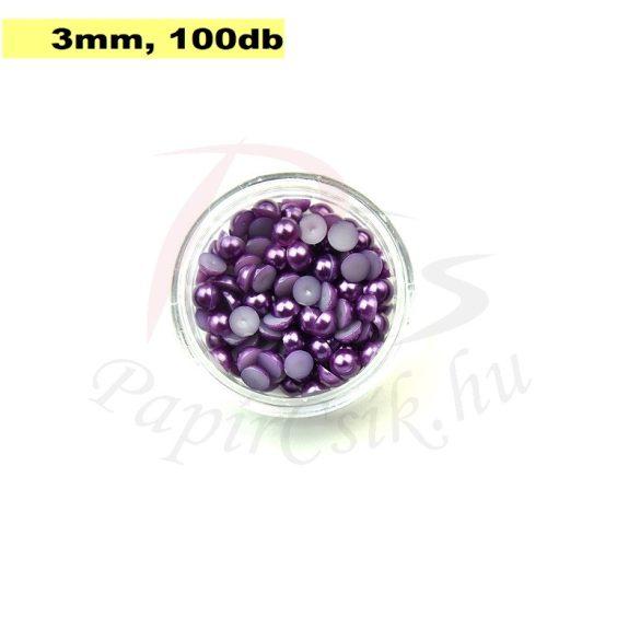 Műanyag félgömbgyöngy, lila (3mm, 100db, tasakban)