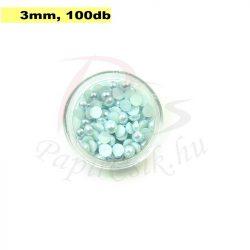 Műanyag félgömbgyöngy, halványkék (3mm, 100db, tasakban)