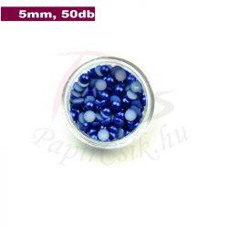 Műanyag félgömbgyöngy, sötétkék (5mm, 50db)