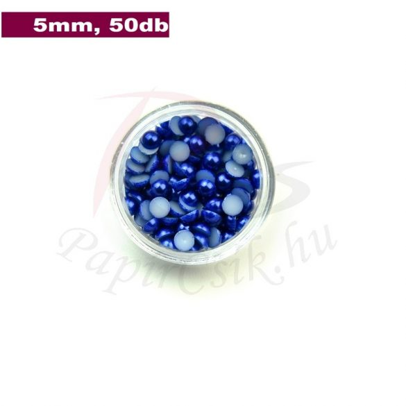 Műanyag félgömbgyöngy, sötétkék (5mm, 50db, tasakban)