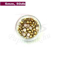Műanyag félgömbgyöngy, arany (5mm, 50db)