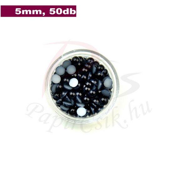 Műanyag félgömbgyöngy, fekete (5mm, 50db, tasakban)