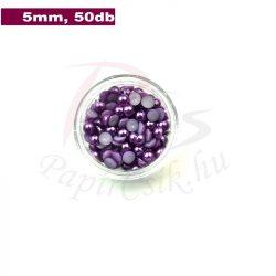 Műanyag félgömbgyöngy, lila (5mm, 50db, tasakban)