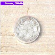 Műanyag félgömbgyöngy, fehér (6mm, 50db, tasakban)