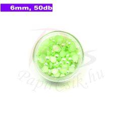 Műanyag félgömbgyöngy, halványzöld (6mm, 50db, tasakban)