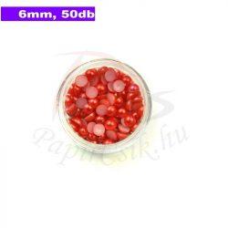 Műanyag félgömbgyöngy, piros (6mm, 50db)