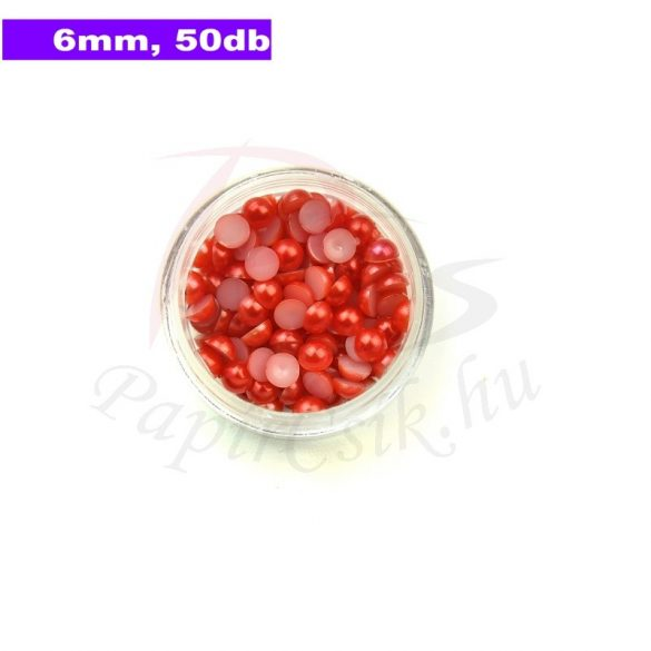 Műanyag félgömbgyöngy, piros (6mm, 50db, tasakban)