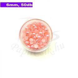 Műanyag félgömbgyöngy, rózsaszín (6mm, 50db, tasakban)