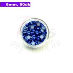 Műanyag félgömbgyöngy, sötétkék (6mm, 50db, tasakban)
