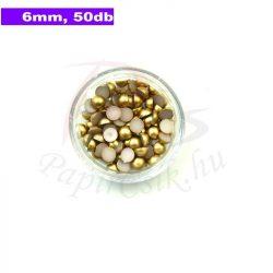 Műanyag félgömbgyöngy, arany (6mm, 50db, tasakban)