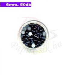 Műanyag félgömbgyöngy, fekete (6mm, 50db)