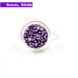 Műanyag félgömbgyöngy, lila (6mm, 50db)