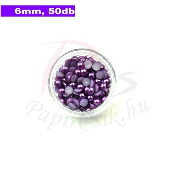 Műanyag félgömbgyöngy, lila (6mm, 50db, tasakban)