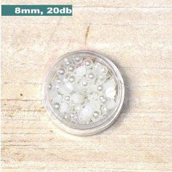 Műanyag félgömbgyöngy, fehér (8mm, 20db)
