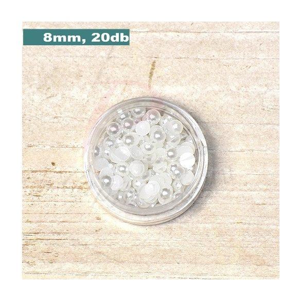 Műanyag félgömbgyöngy, fehér (8mm, 20db, tasakban)