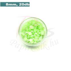 Műanyag félgömbgyöngy, halványzöld (8mm, 20db, tasakban)