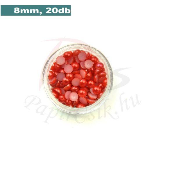 Műanyag félgömbgyöngy, piros (8mm, 20db, tasakban)