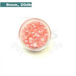 Műanyag félgömbgyöngy, rózsaszín (8mm, 20db, tasakban)