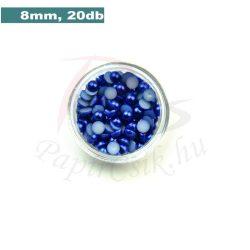 Műanyag félgömbgyöngy, sötétkék (8mm, 20db)