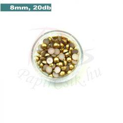 Műanyag félgömbgyöngy, arany (8mm, 20db)