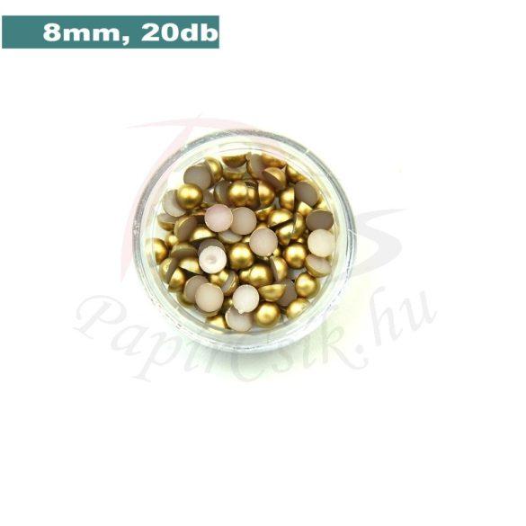Műanyag félgömbgyöngy, arany (8mm, 20db, tasakban)