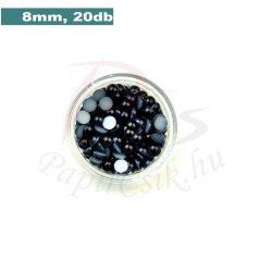 Műanyag félgömbgyöngy, fekete (8mm, 20db, tasakban)
