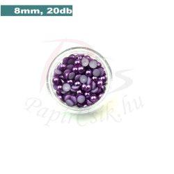 Műanyag félgömbgyöngy, lila (8mm, 20db, tasakban)