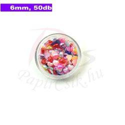 Műanyag szív alakú félgyöngy (vegyes szín, 6mm, 50db, tasakban)