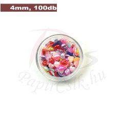Műanyag szív alakú félgyöngy (vegyes szín, 4mm, 100db, tasakban)