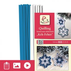 Blau-Weiß - Quilling Muster (200 Stück Streifen und Beschreibung mit Bilder)