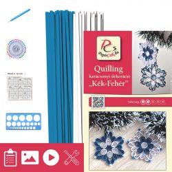Kék-Fehér - Quilling minta (200db csík 14db mintához, leírás, eszközök)