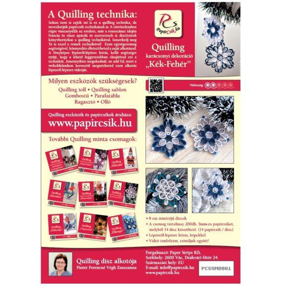 Modro-biela - Quilling vzor (200 prúžkov a popis s obrázkami)