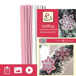 Rózsaszín-Fehér - Quilling minta (200db csík 15db mintához és leírás képekkel)