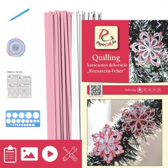 Rózsaszín-Fehér - Quilling minta (200db csík 14db mintához, leírás, eszközök)