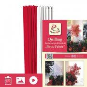Piros-Fehér - Quilling minta (200db csík 16db mintához és leírás képekkel)
