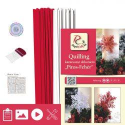 Piros-Fehér - Quilling minta (200db csík 16db mintához, leírás, eszközök)