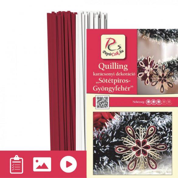 Sötétpiros-Gyöngyfehér - Quilling minta (200db csík 11db mintához és leírás képekkel)