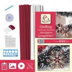 Roșu închis - Alb perlat - model pt. tehnica quilling (benzi - 200 buc., descriere și instrumente)