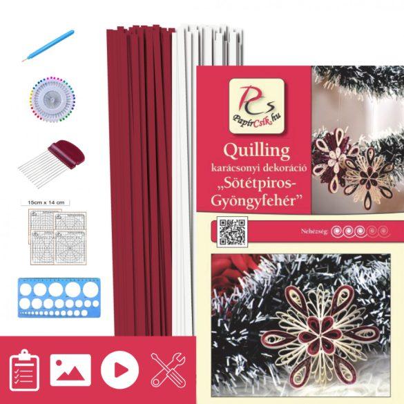 Sötétpiros-Gyöngyfehér - Quilling minta (200db csík 11db mintához, leírás, eszközök)